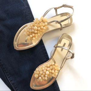 Max Studio Neutral Cream Beaded Strappy Sandals